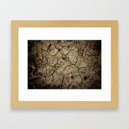 Cracked Winter Soil Framed Art Print