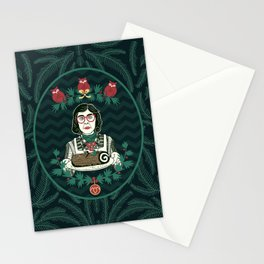 Yule Log Lady (in Green) Stationery Cards