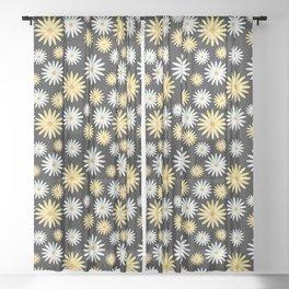 Watecolor Daisies Pattern   Black Sheer Curtain