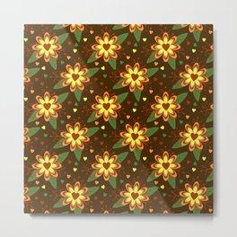 Beautiful Flowers with Heart Pistil Pattern Metal Print