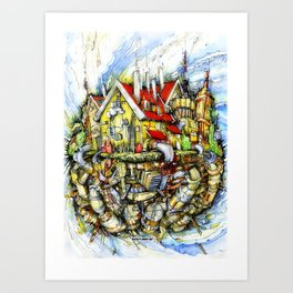 Flying house Art Print