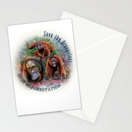 Save the Orangutans Watercolor Illustration Stationery Cards