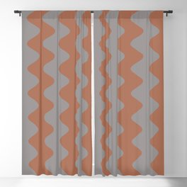 Cavern Clay SW 7701 and Slate Violet Gray SW9155 Wavy Vertical Rippled Stripes Blackout Curtain