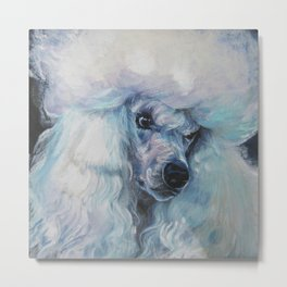 white POODLE dog art portrait from an original painting by L.A.Shepard Metal Print