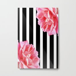 Pink roses on black and white stripes Metal Print