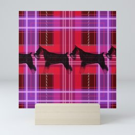 Sniffing Schnauzers in Pink Plaid Mini Art Print