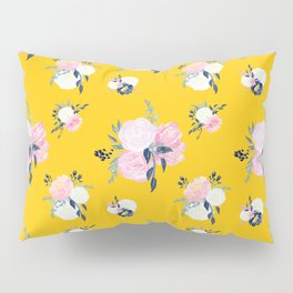 Spring Florals on Mustard Yellow Pillow Sham