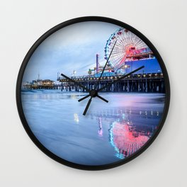 SANTA MONICA PIER SUNSET CALIFORNIA PHOTOGRAPHY Wall Clock