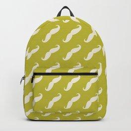 Curly Moustache (Handlebar Moustache) - White Green Backpack