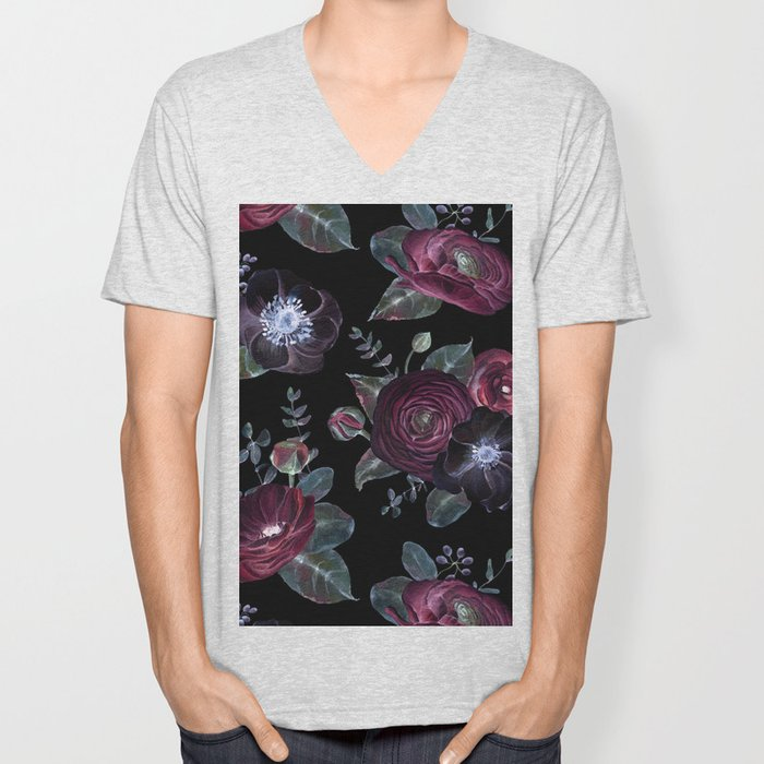Fantasy Night Rose Red Unisex V-Neck