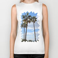 palm trees Biker Tanks featuring Palm Trees by Rebecca Bear