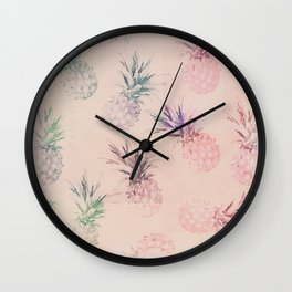 Soft Pastel Pineapple Summe Pattern Wall Clock