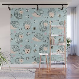 So Many Happy Little Hedgehogs To Hug Pattern Wall Mural
