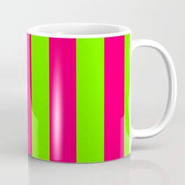 Bright Neon Green and Pink Vertical Cabana Tent Stripes Coffee Mug