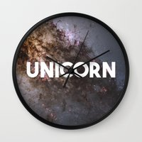the last unicorn Wall Clocks featuring Unicorn by eARTh