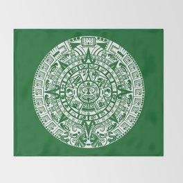 Mayan Calendar // Forest Green Throw Blanket