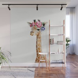 Baby Giraffe with Flower Crown Wall Mural