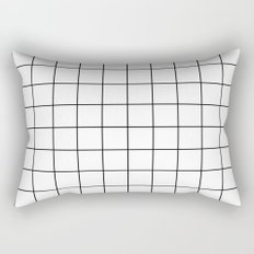 White Black Grid Minimalist Rectangular Pillow