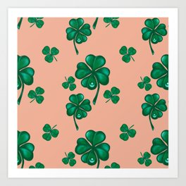 Good luck! Four leaf clover seamless pattern  Art Print
