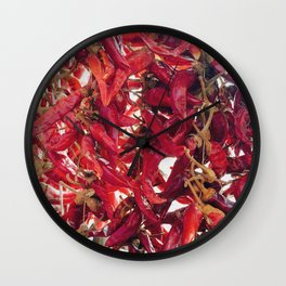Red Pepperoni Photography Wall Clock