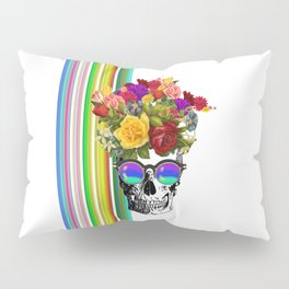 Colorful Cool Hip Skull with flowers Pillow Sham