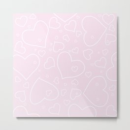 Palest Pink and White Hand Drawn Hearts Pattern Metal Print