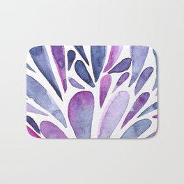 Watercolor artistic drops - purple and indigo Bath Mat