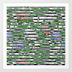 Stripes with Flowers Art Print