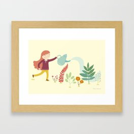 Watering the plants Framed Art Print