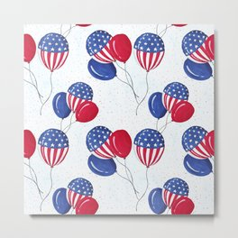 American USA Flag Balloon Patriotic July 4th Metal Print