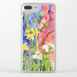 Cottage Garden Delphinium and Hollyhocks Watercolor Clear iPhone Case
