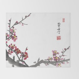 Plum Blossom One Throw Blanket