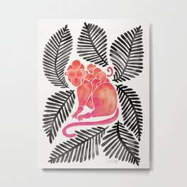 Monkey Cuddles – Pink & Black Palette Metal Print