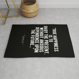 Stoic Quote - True Happiness - Seneca Rug