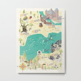 Princess Bride Discovery Map Metal Print