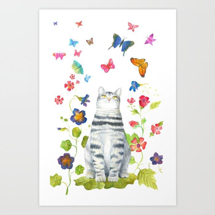 Tabby Cat with Butterflies and Flowers Kunstdrucke