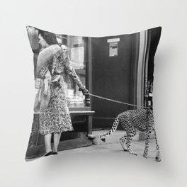Woman with Cheetah, Phyllis Gordon, with her pet Kenyan cheetah, Paris, France black and white photo Throw Pillow