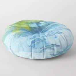 Blue green colored wash drawing Floor Pillow