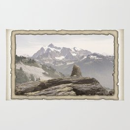 VINTAGE STONE MONUMENT AND MOUNT SHUKSAN Rug