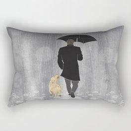 Dog walk in rain Rectangular Pillow