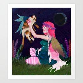 Moon lit play time  Art Print