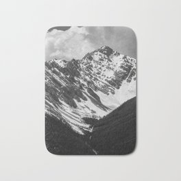Black and White Canadian Rockies Bath Mat
