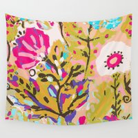 karen hallion Wall Tapestries featuring Bohemian Pink Abstract Flowers by Karen Fields by Karen Fields Design
