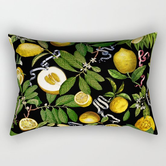 LEMON TREE Black Rectangular Pillow
