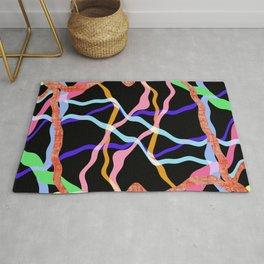 Strands Of Color On Black Rug