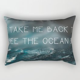 Oregon coast, Pacific Ocean, Pacific Coast, Ocean waves, Water, Blue Waves, Nature, Hipster, Moody Rectangular Pillow