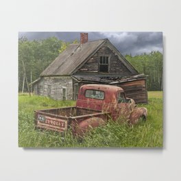 Old Chevy Pickup and Abandoned Farm House Metal Print