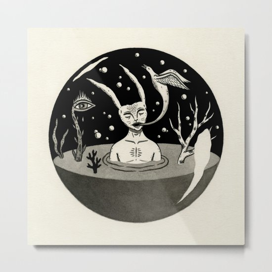 Water Orb with Rabbit Metal Print