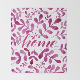 Watercolor home foliage - pink Throw Blanket