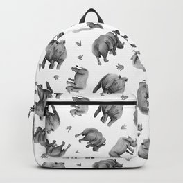 Rhino's Grazing - Black & White Backpack